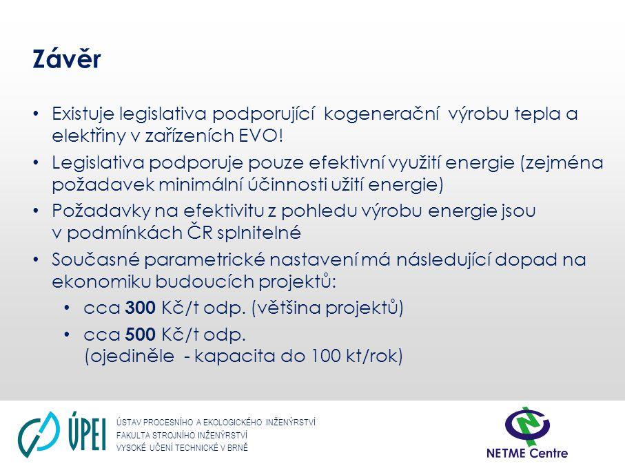 Závěr Existuje legislativa podporující kogenerační výrobu tepla a elektřiny v zařízeních EVO!
