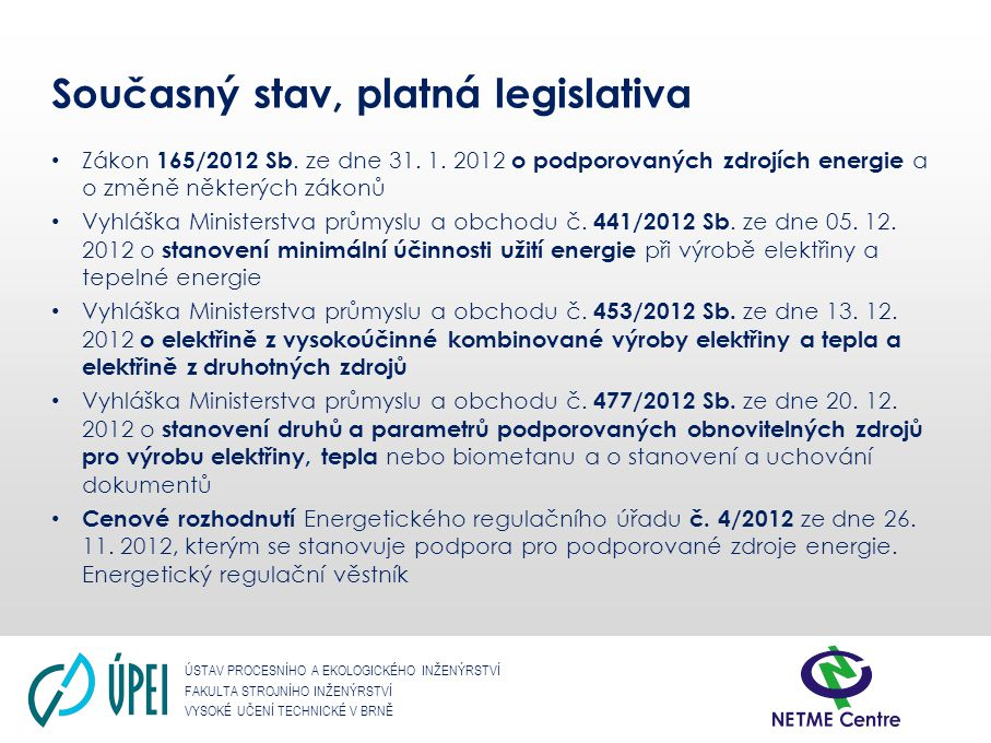 Současný stav, platná legislativa
