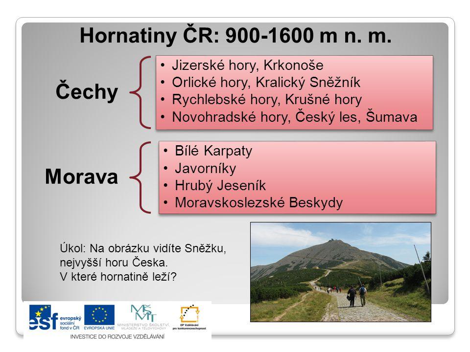 Hornatiny ČR: 900-1600 m n. m. Čechy Morava Jizerské hory, Krkonoše