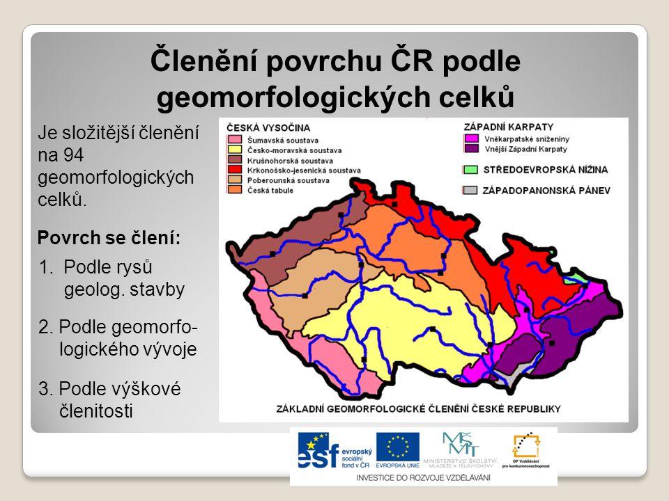 Členění povrchu ČR podle geomorfologických celků