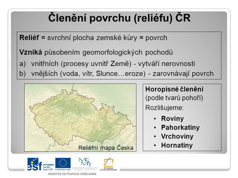 Členění povrchu (reliéfu) ČR
