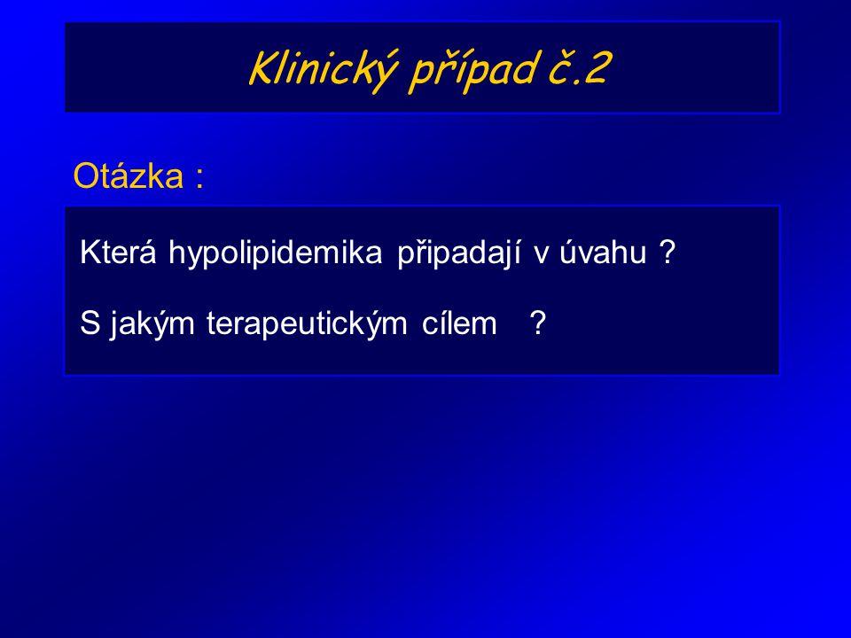 Klinický případ č.2 Otázka : Která hypolipidemika připadají v úvahu