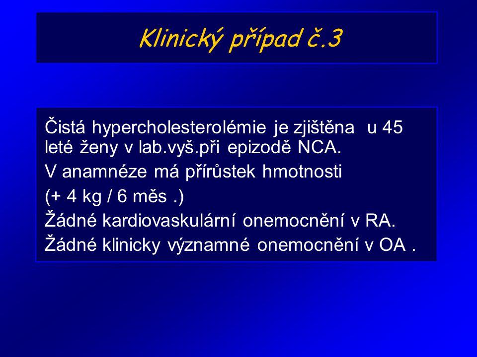 Klinický případ č.3 Čistá hypercholesterolémie je zjištěna u 45 leté ženy v lab.vyš.při epizodě NCA.