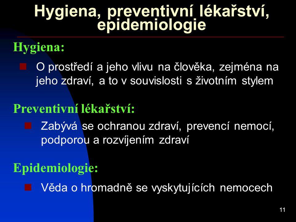 Hygiena, preventivní lékařství, epidemiologie
