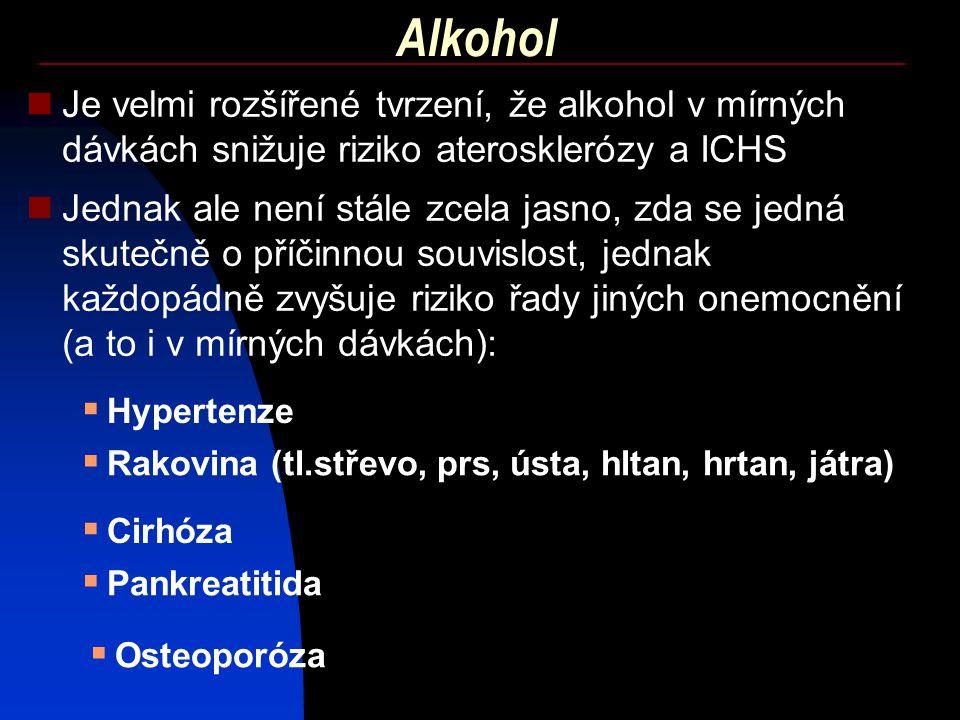 Alkohol Je velmi rozšířené tvrzení, že alkohol v mírných dávkách snižuje riziko aterosklerózy a ICHS.