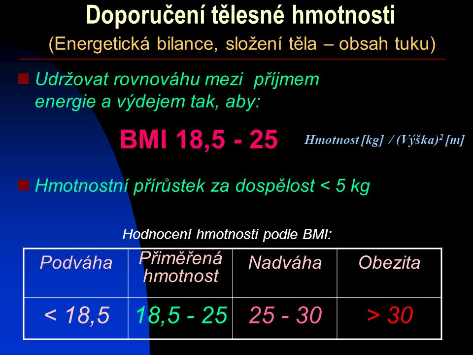Doporučení tělesné hmotnosti