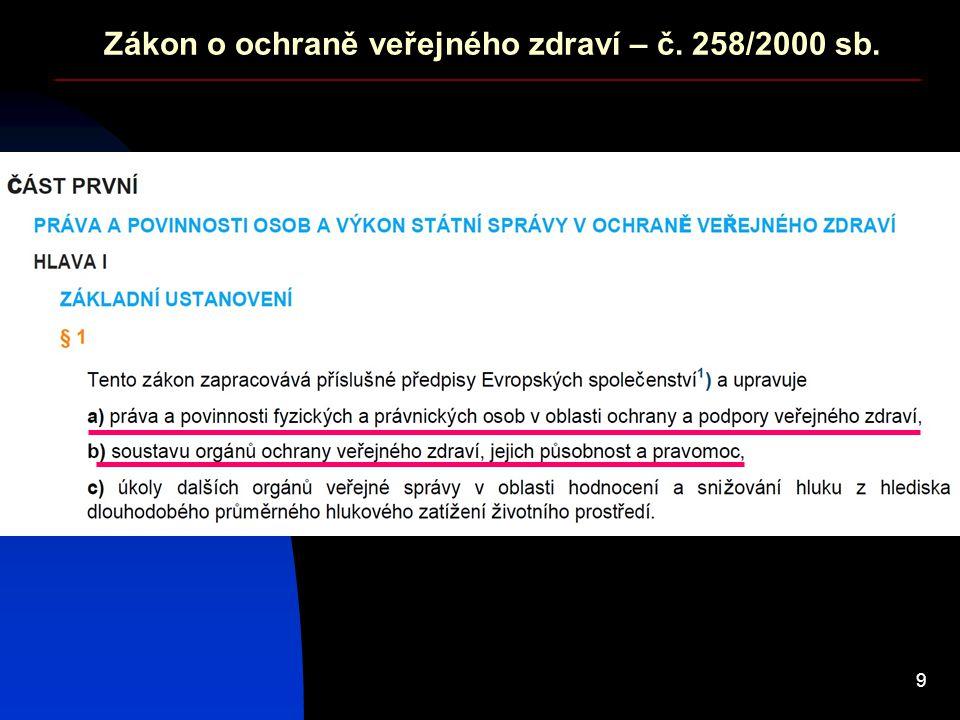 Zákon o ochraně veřejného zdraví – č. 258/2000 sb.