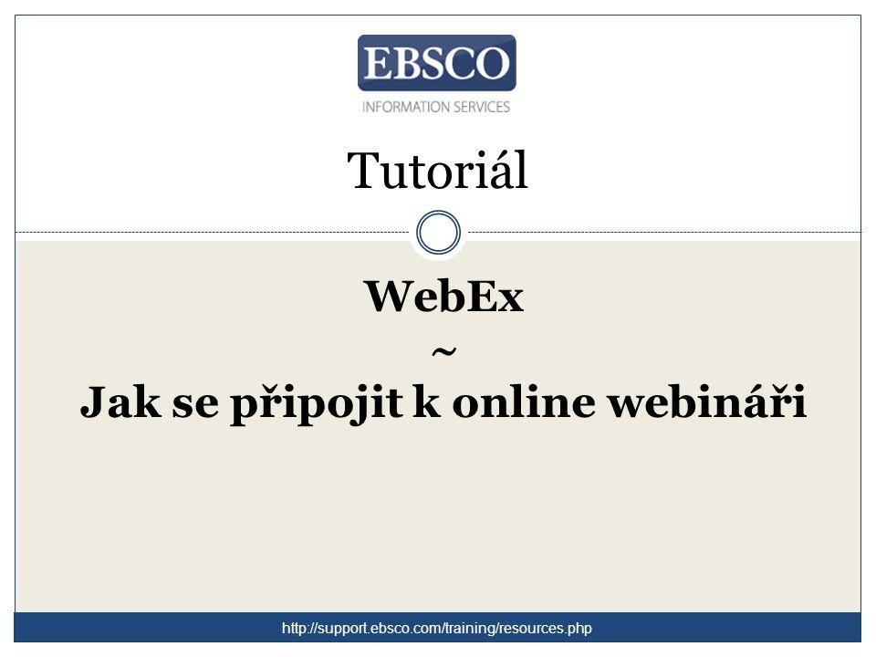 WebEx ~ Jak se připojit k online webináři