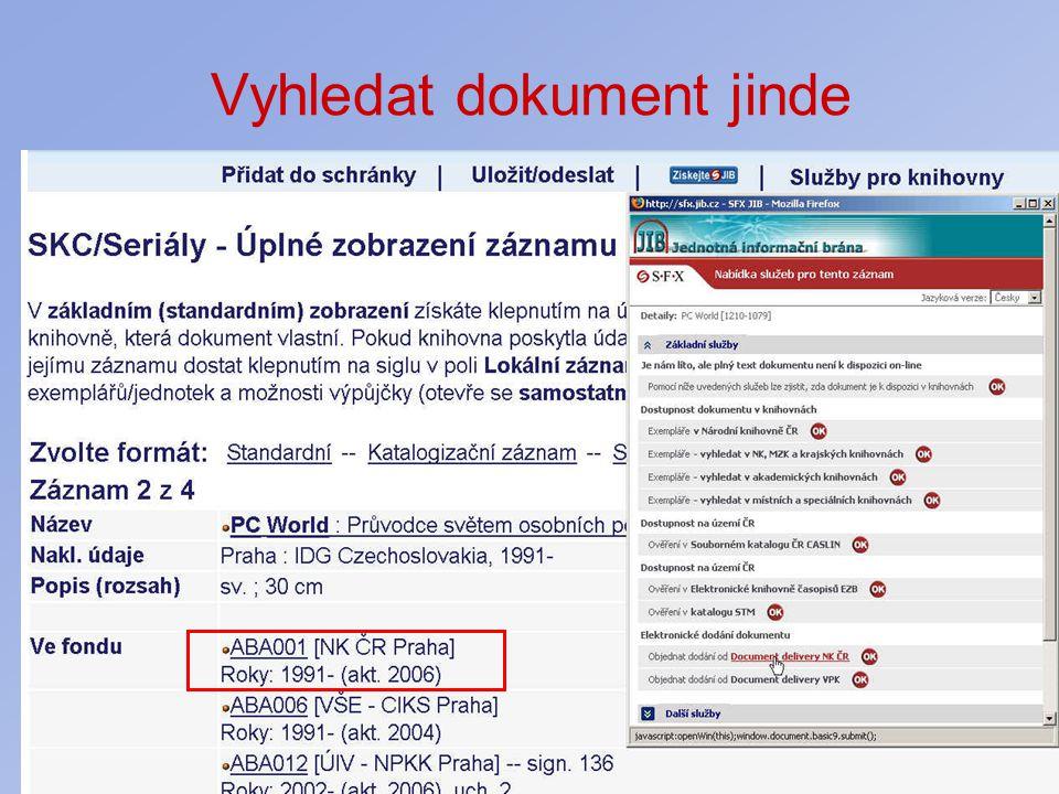 Vyhledat dokument jinde