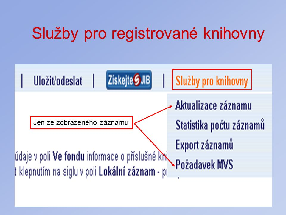 Služby pro registrované knihovny