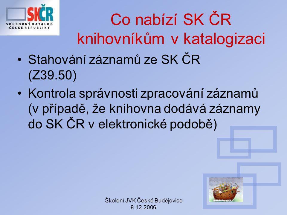Co nabízí SK ČR knihovníkům v katalogizaci