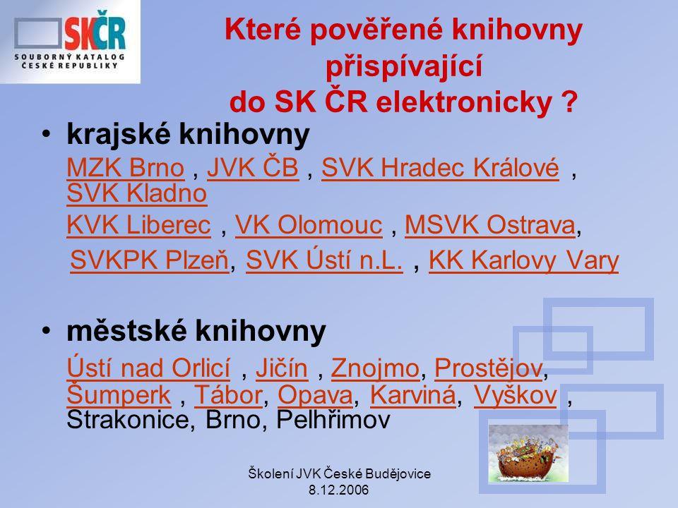 Které pověřené knihovny přispívající do SK ČR elektronicky