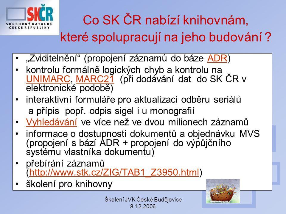 Co SK ČR nabízí knihovnám, které spolupracují na jeho budování