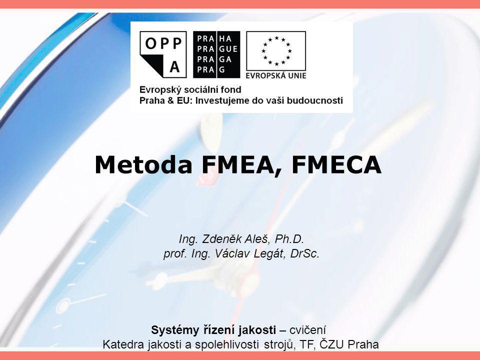 Metoda FMEA, FMECA Ing. Zdeněk Aleš, Ph.D.