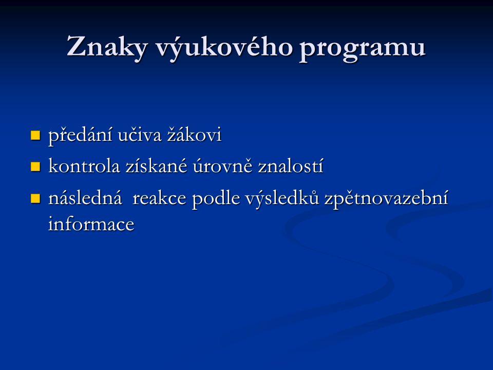 Znaky výukového programu