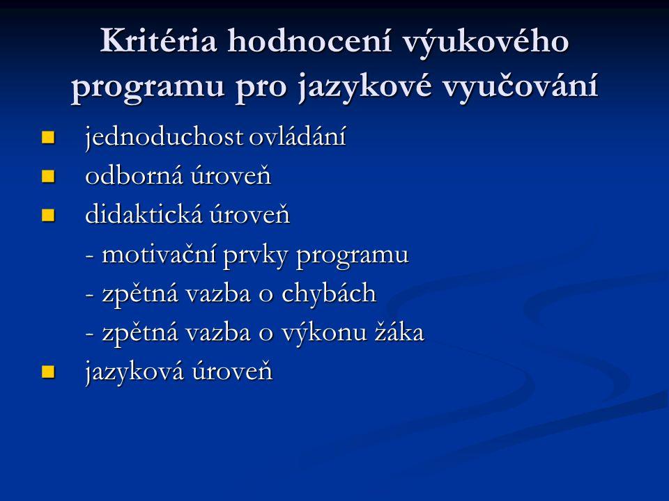 Kritéria hodnocení výukového programu pro jazykové vyučování