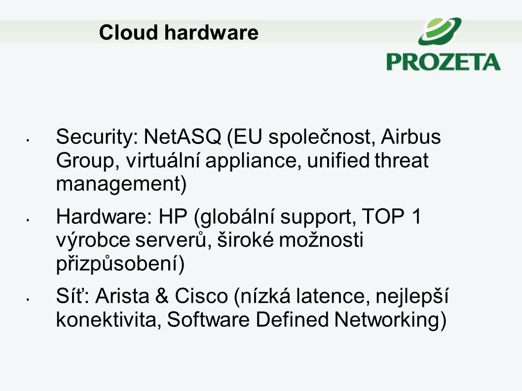 Cloud hardware Security: NetASQ (EU společnost, Airbus Group, virtuální appliance, unified threat management)