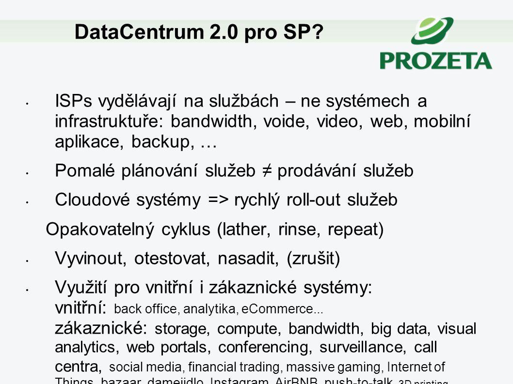 DataCentrum 2.0 pro SP ISPs vydělávají na službách – ne systémech a infrastruktuře: bandwidth, voide, video, web, mobilní aplikace, backup, …