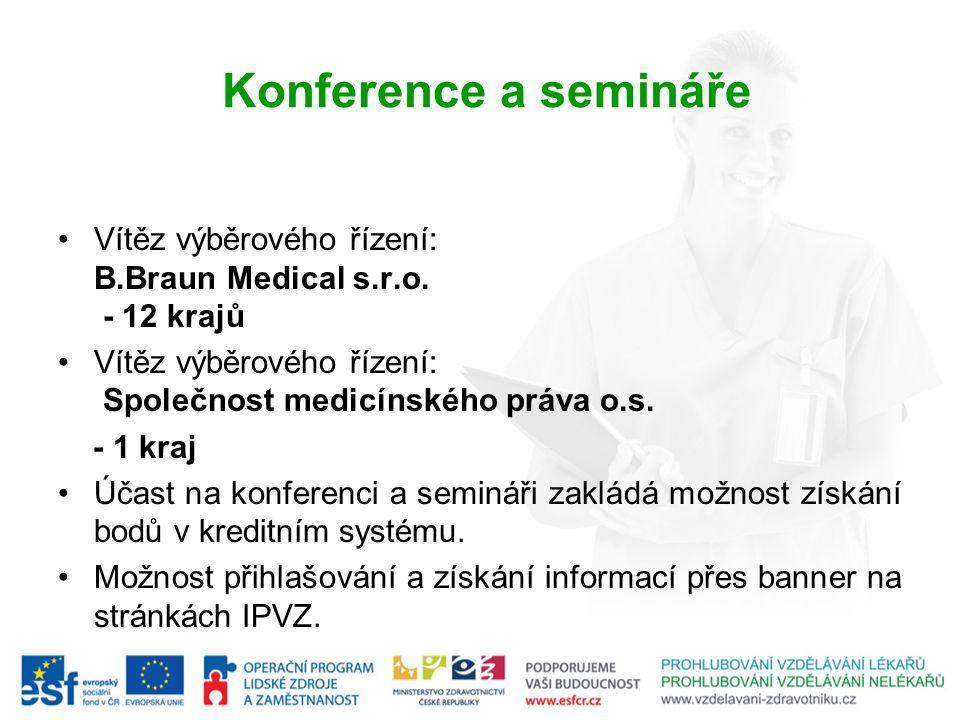 Konference a semináře Vítěz výběrového řízení: B.Braun Medical s.r.o. - 12 krajů. Vítěz výběrového řízení: Společnost medicínského práva o.s.