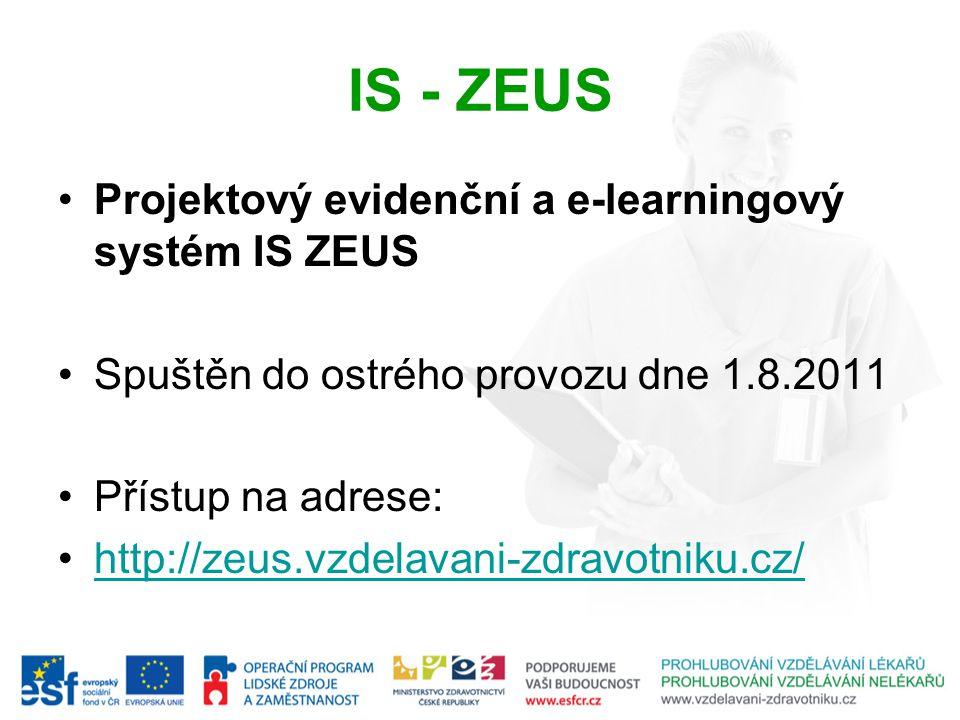 IS - ZEUS Projektový evidenční a e-learningový systém IS ZEUS