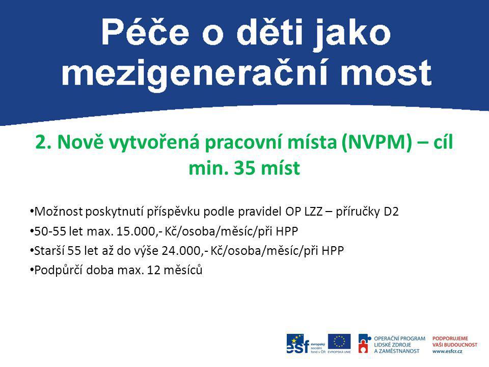 2. Nově vytvořená pracovní místa (NVPM) – cíl min. 35 míst