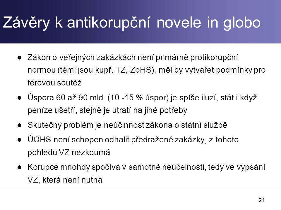 Závěry k antikorupční novele in globo