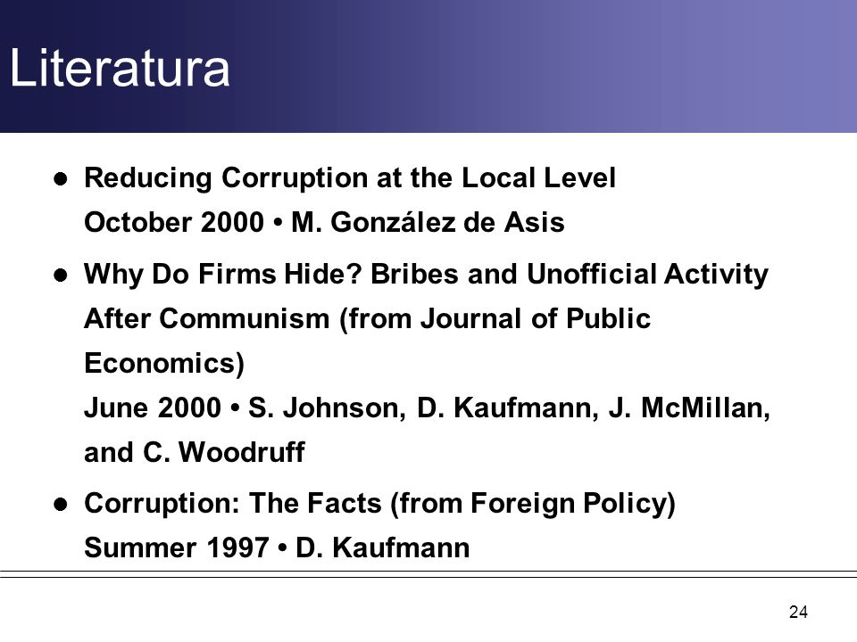 Literatura Reducing Corruption at the Local Level October 2000 • M. González de Asis.