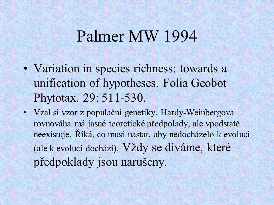 Palmer MW 1994 Variation in species richness: towards a unification of hypotheses. Folia Geobot Phytotax. 29: 511-530.