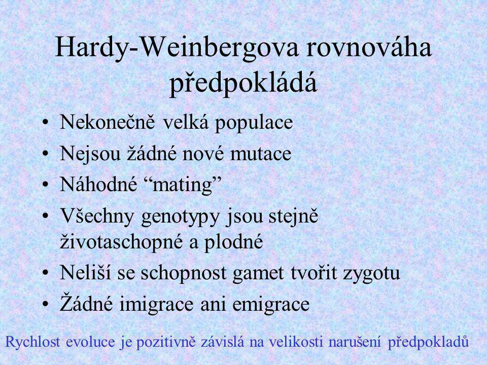 Hardy-Weinbergova rovnováha předpokládá