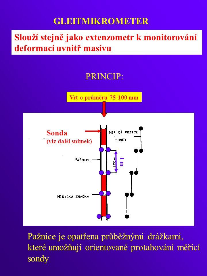 Slouží stejně jako extenzometr k monitorování deformací uvnitř masívu