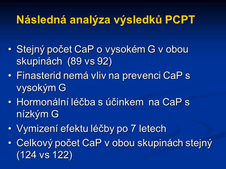 Následná analýza výsledků PCPT