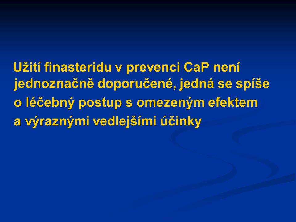 Užití finasteridu v prevenci CaP není jednoznačně doporučené, jedná se spíše