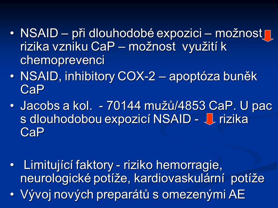 NSAID – při dlouhodobé expozici – možnost rizika vzniku CaP – možnost využití k chemoprevenci