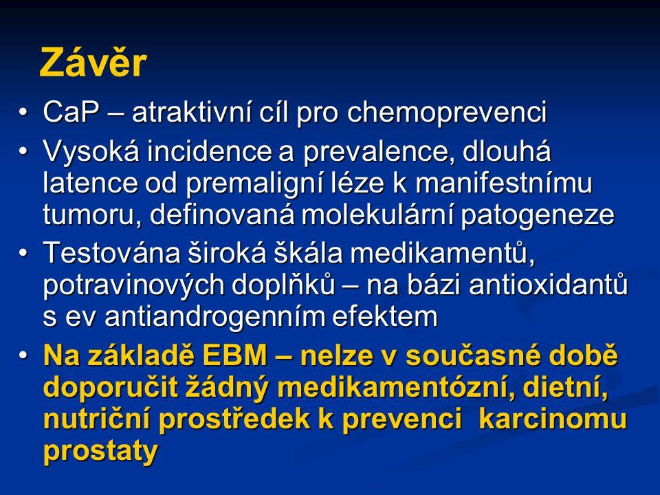 Závěr CaP – atraktivní cíl pro chemoprevenci