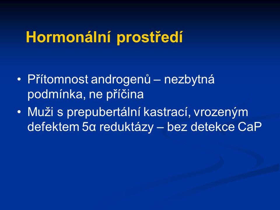 Hormonální prostředí Přítomnost androgenů – nezbytná podmínka, ne příčina.