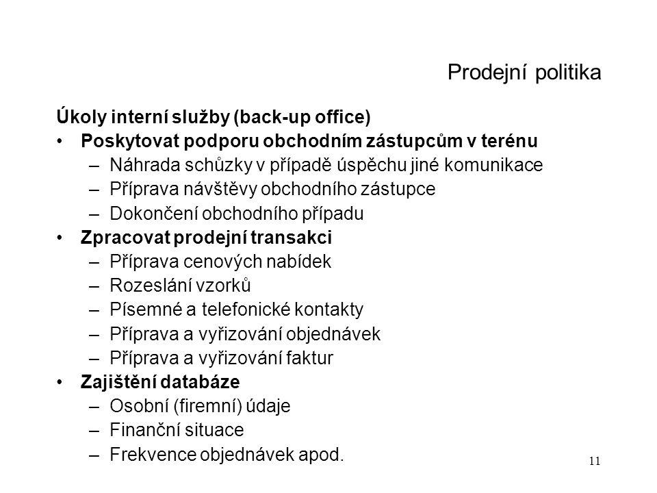 Prodejní politika Úkoly interní služby (back-up office)