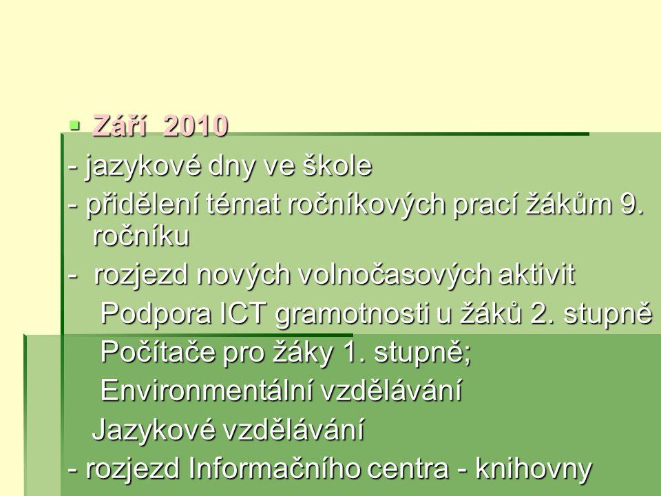 Září 2010 - jazykové dny ve škole. - přidělení témat ročníkových prací žákům 9. ročníku. - rozjezd nových volnočasových aktivit.