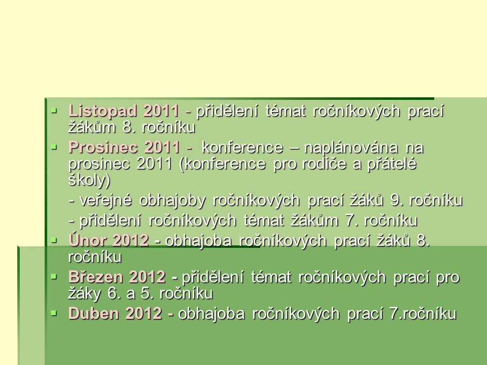 Listopad 2011 - přidělení témat ročníkových prací žákům 8. ročníku