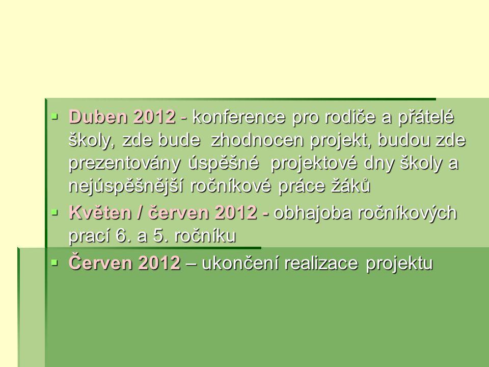Duben 2012 - konference pro rodiče a přátelé školy, zde bude zhodnocen projekt, budou zde prezentovány úspěšné projektové dny školy a nejúspěšnější ročníkové práce žáků
