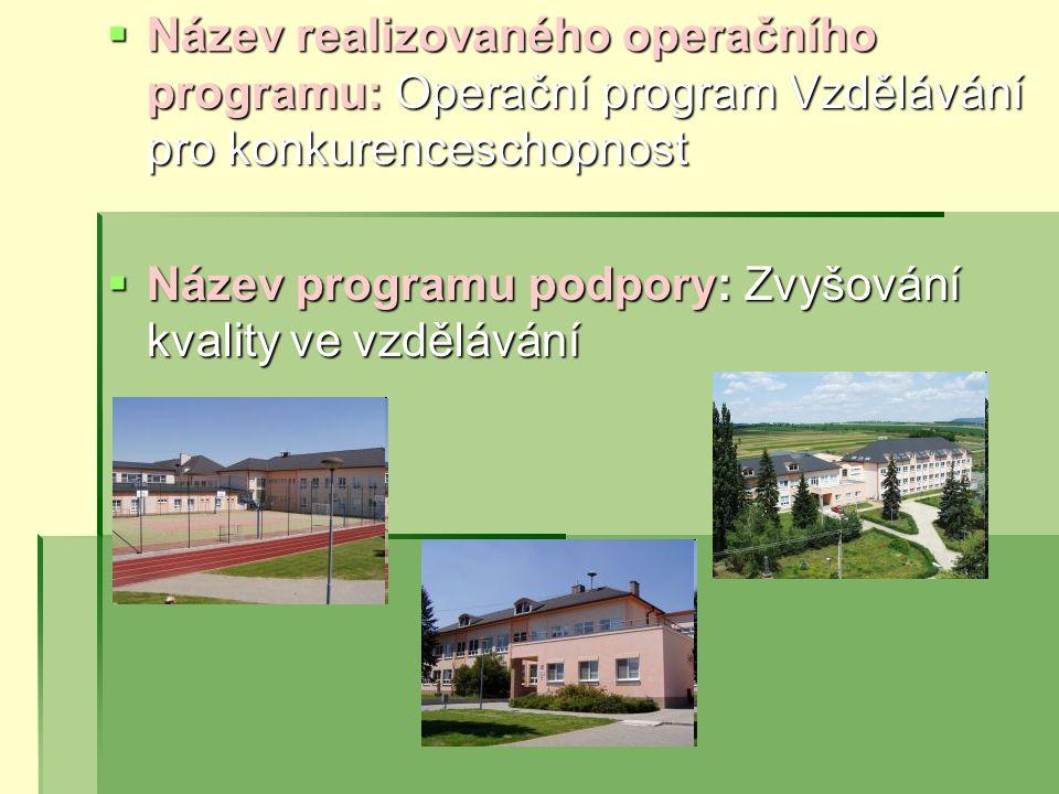 Název realizovaného operačního programu: Operační program Vzdělávání pro konkurenceschopnost