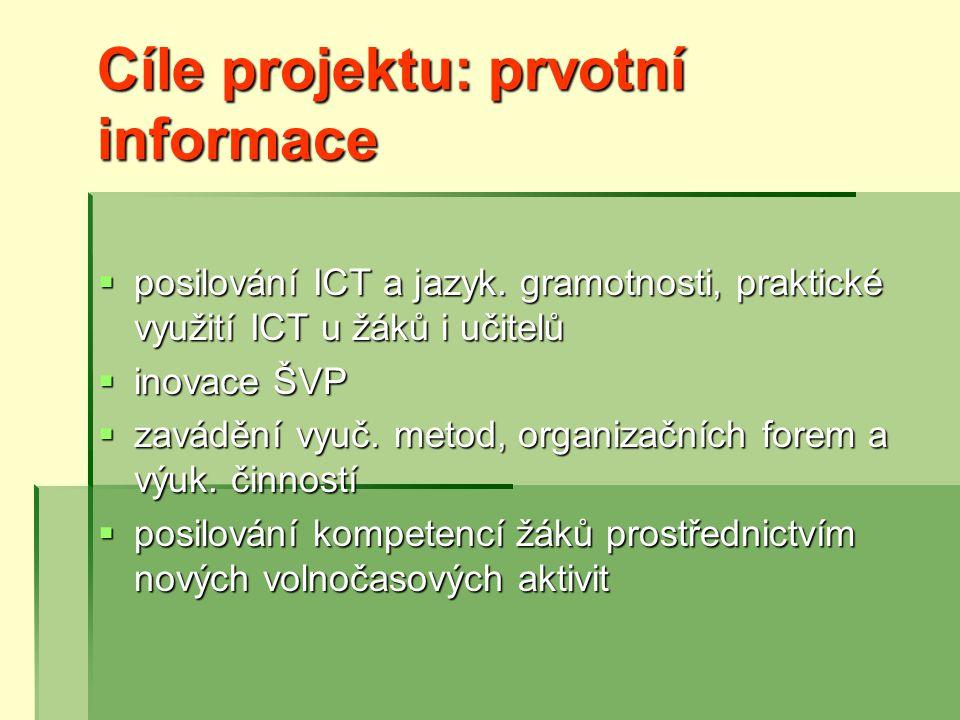 Cíle projektu: prvotní informace