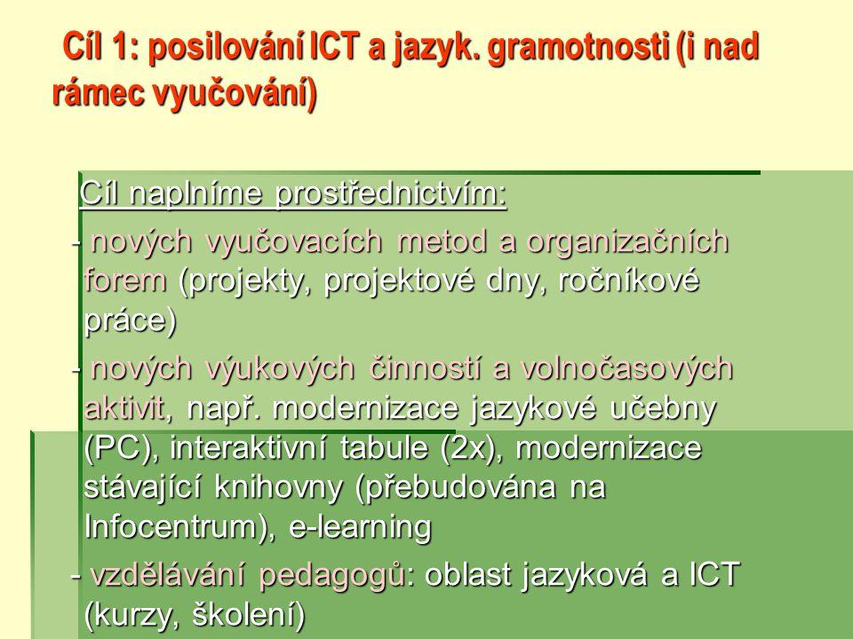 Cíl 1: posilování ICT a jazyk. gramotnosti (i nad rámec vyučování)