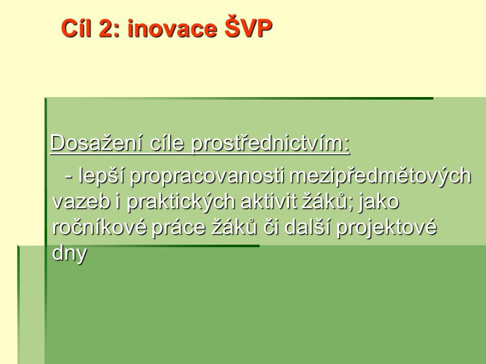 Cíl 2: inovace ŠVP Dosažení cíle prostřednictvím: