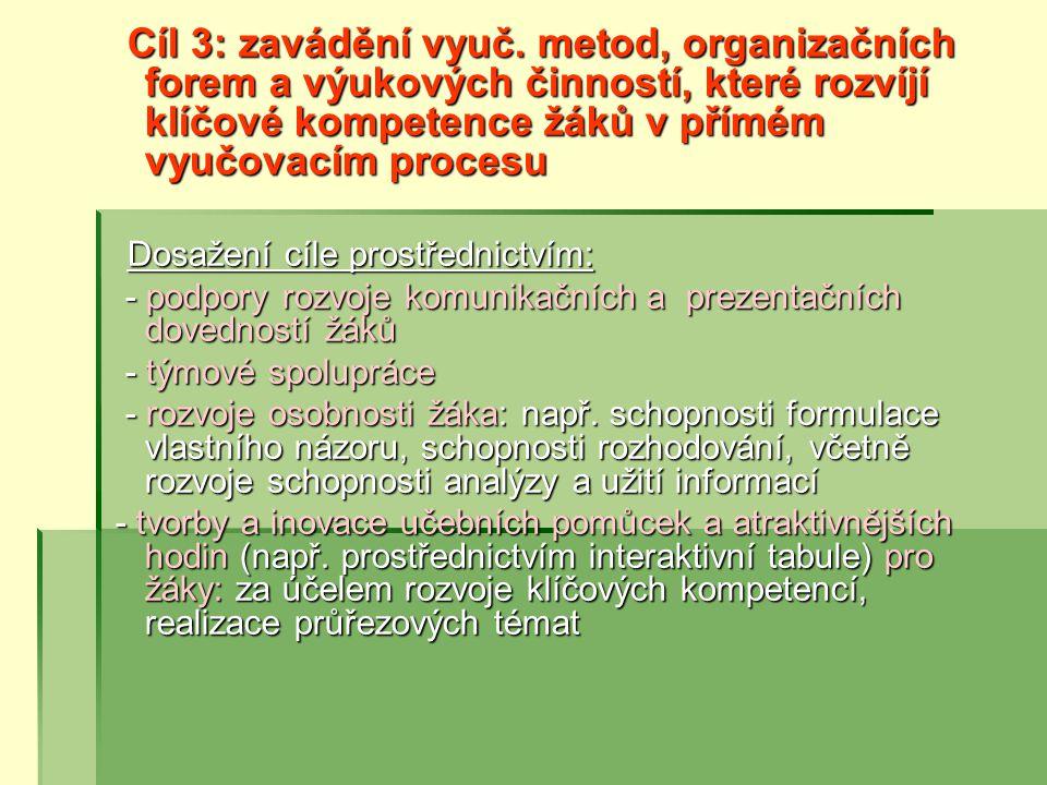 - podpory rozvoje komunikačních a prezentačních dovedností žáků