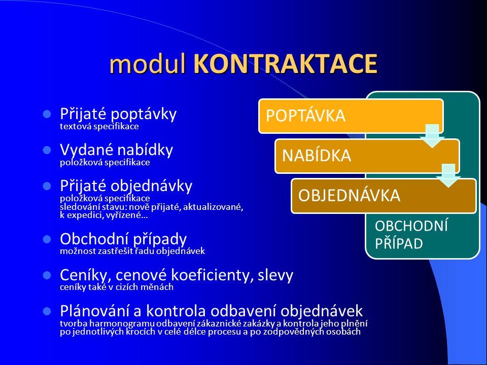 modul KONTRAKTACE POPTÁVKA NABÍDKA OBJEDNÁVKA