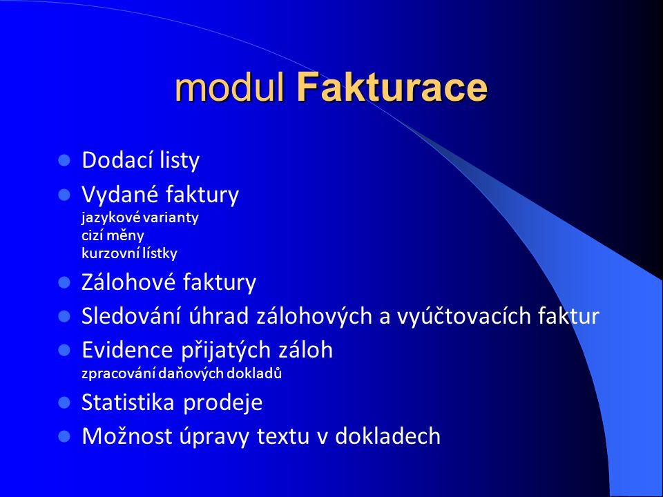 modul Fakturace Dodací listy