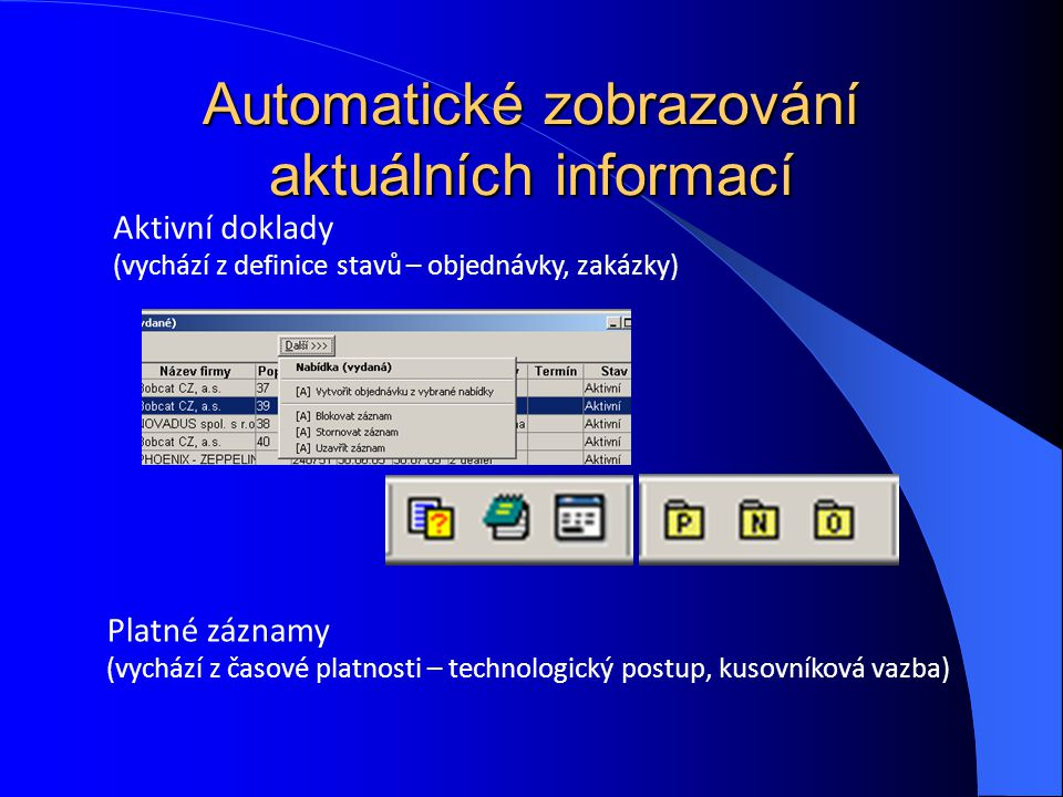 Automatické zobrazování aktuálních informací