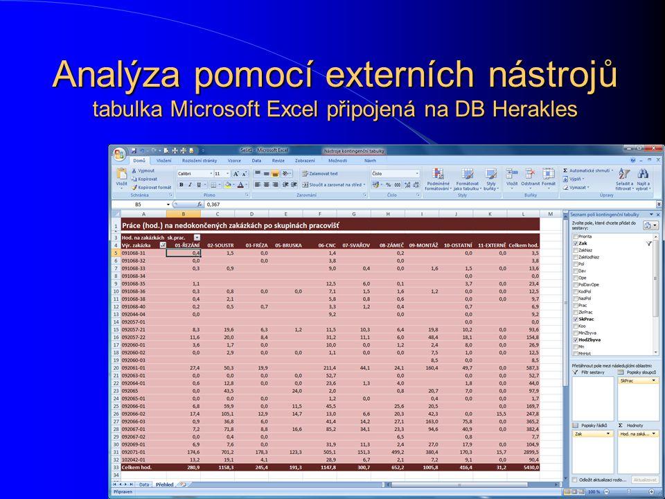 Analýza pomocí externích nástrojů tabulka Microsoft Excel připojená na DB Herakles