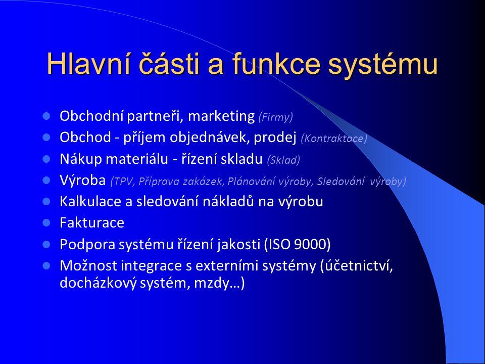 Hlavní části a funkce systému