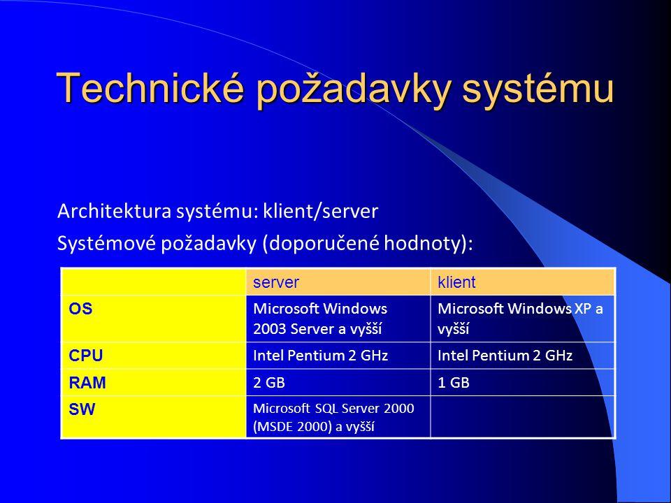 Technické požadavky systému